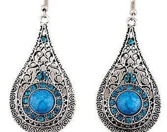 Silver and Blue Tibetan Dangle Earrings