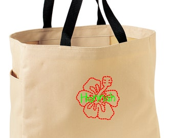 Personalized Tote Bag Embroidered Tote Bag Custom Tote Bag - Sports - Hibiscus Flower - B0750