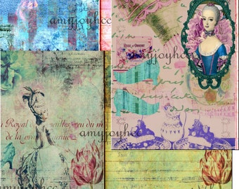 Vintage DIY Journal French Marie Antoinette Printable Journal Digital Scrapbook - Collage Sheets Background French journal