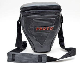 Vintage Photo Camera Bag Classic For SLR Camera and Lens Black Synthetic Leather