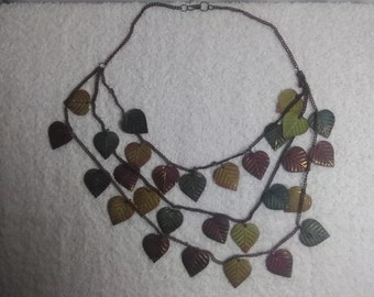 3 Chain Leaf Necklace