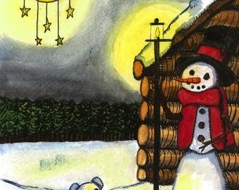 Night Gazing Snowman