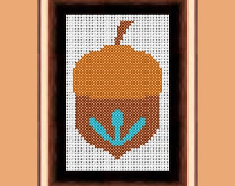 Simple Acorn Cross Stitch Pattern PDF Instant Download Beginner, Easy, Fast, Modern, Small