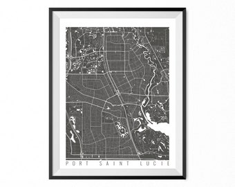 Port Saint Lucie City Map Art Print / Port Saint Lucie Poster / Port Saint Lucie Wall Art / Florida Gift/ Florida home decor