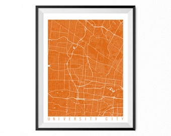 UNIVERSITY CITY Map Art Print / University City City Poster / University City Wall Art / Missouri/ Gift / Missouri home decor