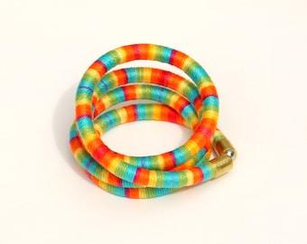 Textile Wrap Bracelet, Rope Bracelet, Colorful Fabric Bracelet, Textile Jewelry, Cotton Bracelet, Festival Bracelet, Summer Bracelet