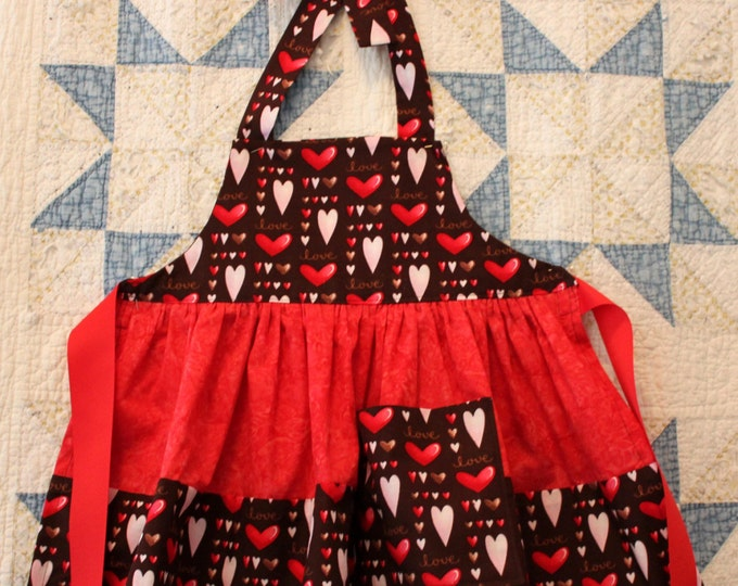 HALF PRICE ** Hearts and Chocolate Frilly Apron. Chocolate Brown Red & Pink Heart print. Double Ruffle Skirt