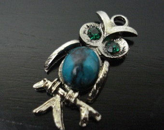 Owl Green Crystal Eyes Turquoise Belly Pendant Vintage