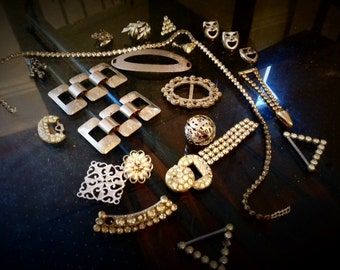 Lot of Vintage Jewelry Findings -silver,rhinestones Retro style