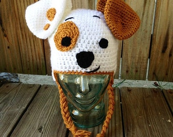 Happy Puppy Crochet Hat - dog hat - puppy earflap hat - white and brown dog hat - Made to Order