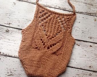Taralynn Romper - Almond  Romper - Knit Romper - Lace Romper - Knit Photo Prop - Brown Romper - Newborn Romper - Newborn Knit Romper