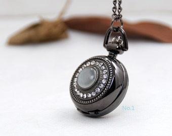 1 Pocket Watch Necklace Watch Clock Watch Vintage Watch Wedding Gift -C042