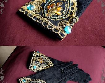 Exclusive Designer Fashion, Neo-ludwig Rococo Lolita Victorian Elegant Gothic Retro Black Lace Short Gloves