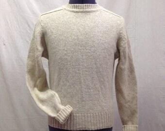 Sweater Mens Wool Medium Wanamaker Long Sleeve Pullover Cream Oatmeal
