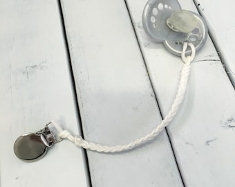 Ivory Leather Braided Binky Clip - (Pacifier Clip, white, boy, girl, gender neutral, faux suede)