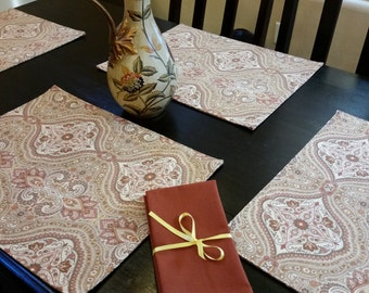 Rust and Beige Place mats. Set of Four with Matching Rust Napkins.