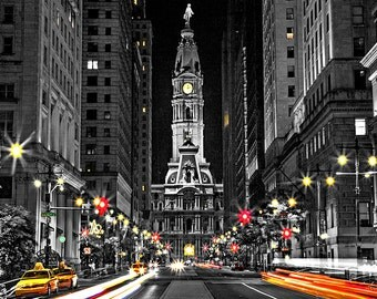 Philadelphia City Hall at Night with Color Cabs B&W Canvas Art (12x14)