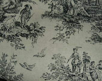 Black On Gray Toile Fabric By The Yard