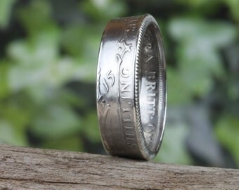 Hand Crafted Sterling Silver Coin Ring British 1915 Shilling. UK size Y #CR 58