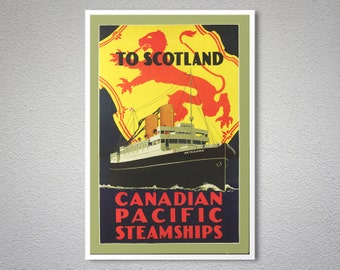 To Scotland Canadian Pacific Steamships Vintage Travel Poster - Poster Print, Sticker or Canvas Print