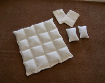 Dollhouse Miniature Down Comforter 1:12 Scale Pillows Removable Pillowcases Stitched Baffles Ivory Handmade