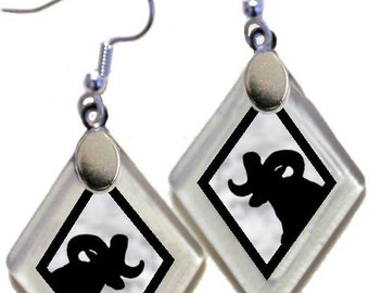 "Earrings ""Bighorn Ram Silhouette (assorted colors)"" rescued, repurposed window glass~Lightening landfills one tiny glass diamond at a time!"