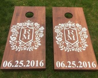 Custom Wedding Cornhole Boards - Custom Crest Monogram Logo