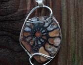 Ancient Elegant Ammonite Pendant, Sterling Silver Wire Wrapped Pendant, Wire Wrapped Stone Pendant, Ammonite Fossil Wire Wrap Pendant