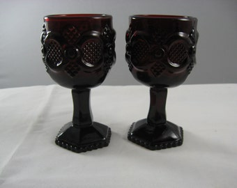 Avon 1876 Cape Cod Collection Ruby Red  Glass Two Wine Glasses