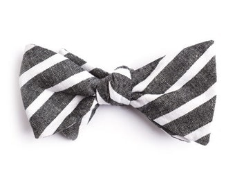 Black Large Striped Bow Tie