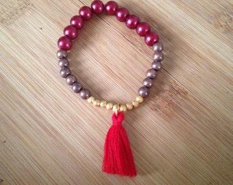 Red boho beaded bracelet