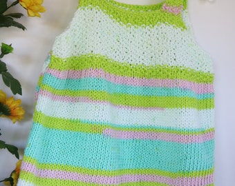Colorful knit cotton top, Easter knit top, toddler knitwear, spring sweater, beach top, little girl knitwear