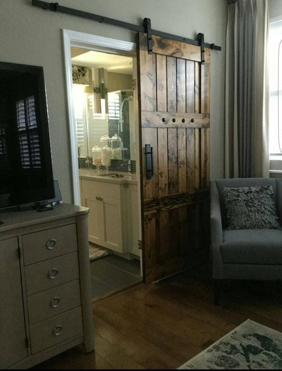 Interior barn door sliding wooden door barn door with for Sliding carriage doors