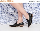 Black Leather Flat Shoes / Women Shoes / Every Day Shoes / Leather Flats Shoes / Comfortable Shoes / Wooden Heels Shoes - Kiki