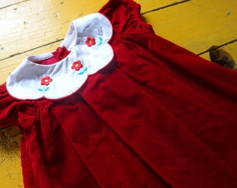 Vintage 3T GIRL Short Sleeve Red Velvet Dress w/ Embroidered Flowers, vintage dress 3T, vintage baby girl 3T, red velvet dress 3T