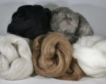Natural wool roving bundle - 125g ~ natural felting wool - British breeds wool