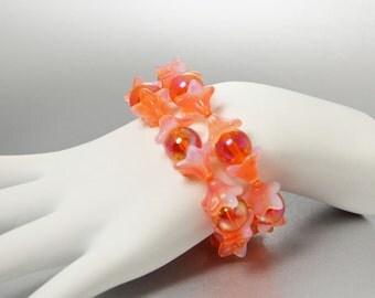 Orange Flower Bracelet, Tangerine Orange Stretch Bracelet, Neon Orange Stacking Bracelets, Orange Bracelet Set, Gyspy Jewelry, Boho Bracelet
