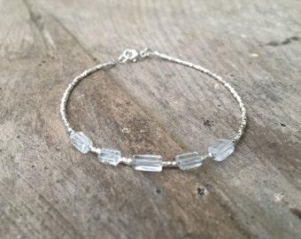 Aquamarine and Karen Hill Tribe Silver Bracelet, Beaded bracelet, Gemstone bracelet, March Birthstone bracelet