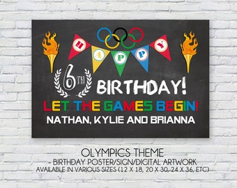 Olympic Games themed birthday party -  Any Age Birthday Customized Poster Artwork printable design - High-resolution Digital File