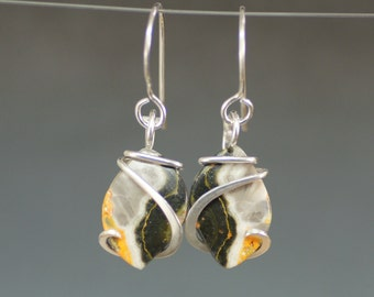 Bumblebee Jasper Marquise Cold Forged Sterling Silver Earrings