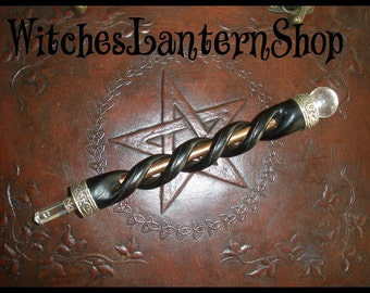 Wooden wand of Hazel, rock crystal and copper.