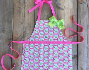 toddler apron - toddler girl gift - reversible apron - girls apron - craft apron - child apron - kids apron - childrens aprons