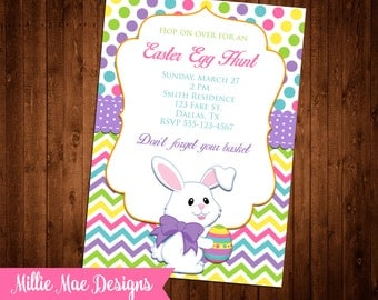SALE 25% OFF Easter Egg Hunt Invitation - Digital File - Print As Many As You Need