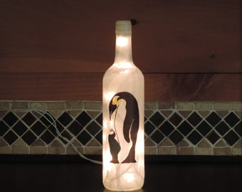 Handcrafted wine bottle light collage Emperor Penguin and baby penguin
