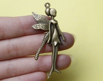 Angel Charms, Winged Angel Charms, Antique Bronze Tone angel Charm 22*58mm