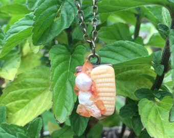 Seashell necklace, seashell charm, mini pendant, seashell jewelry