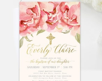 Girl Baptism Invitation Floral : Christening, First Communion, Dedication, Gold, Rustic Shabby Chic, Blush Pink & Peach Invite - Everly