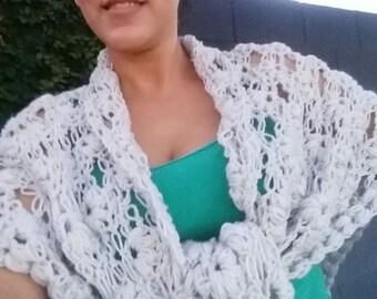Crochet Wedding Shawl, Bridal Shoulder Cover, Crochet Triangular Wrap