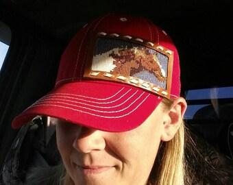 Custom beaded portrait cap/ beaded baseball cap/ beaded truckers cap/ beaded cadet cap