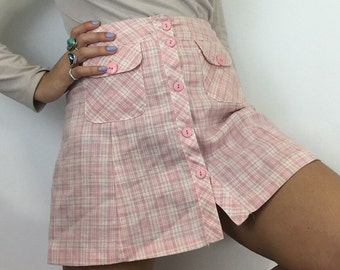 90's Pink Plaid Highwaist Button Skirt